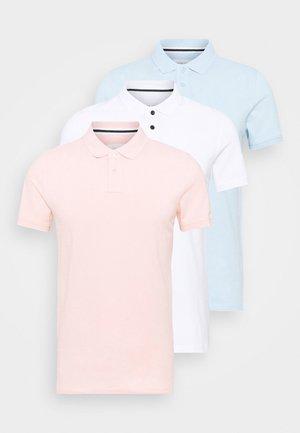 3 PACK - Koszulka polo - white/light blue/pink
