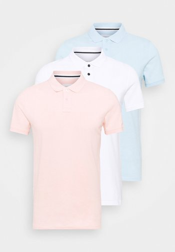 3 PACK - Polo - white/light blue/pink