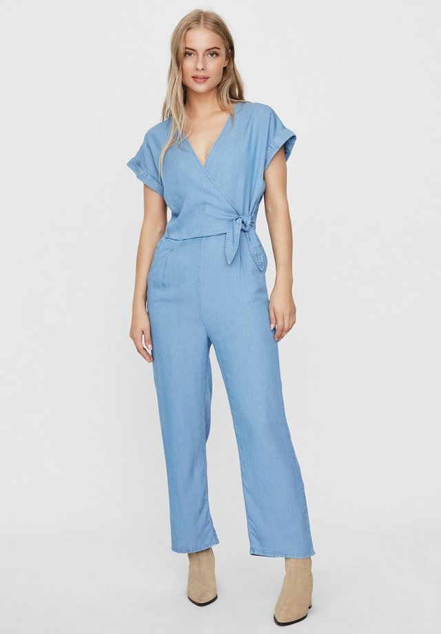 V-AUSSCHNITT - Jumpsuit - light blue denim