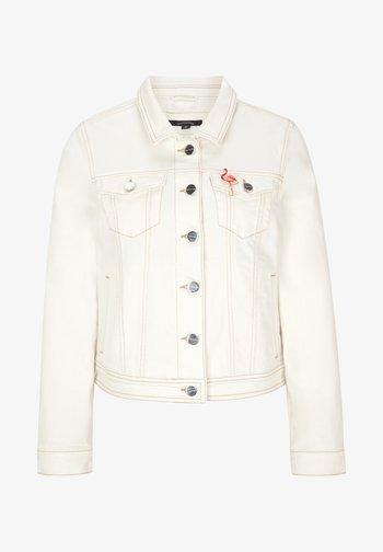MIT BROSCHE - Denim jacket - white