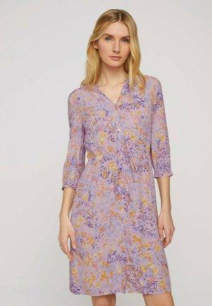 Shirt dress - lilac yellow flower design