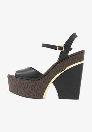 LANA WEDGE - High heeled sandals - black/brown