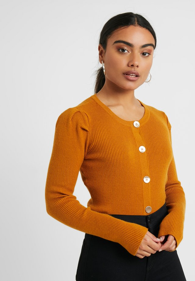 OBJTHESSA CARDIGAN - Sweter - buckthorn brown