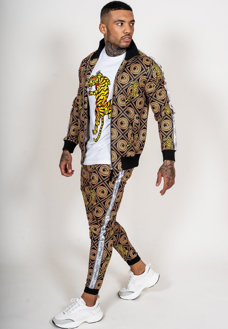 Ed Hardy - TIGER CROUCH BAROQUE TRACK PANT - Tracksuit bottoms - black