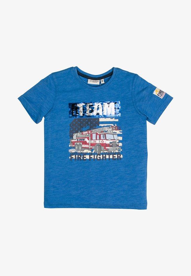 Print T-shirt - blue melange