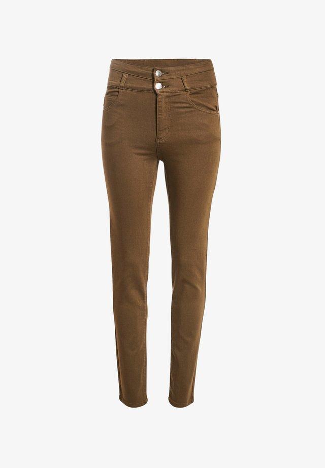 MIT HOHER TAILLE - Jeans slim fit - vert kaki