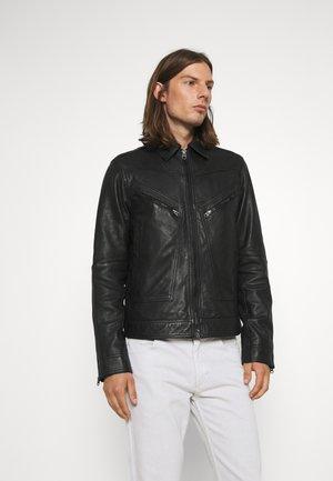 FLIGHT - Leather jacket - black