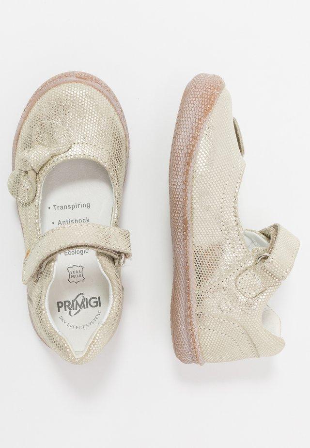 Ankle strap ballet pumps - platino