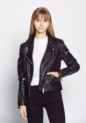 MIT HEMDKRAGEN - Leather jacket - black