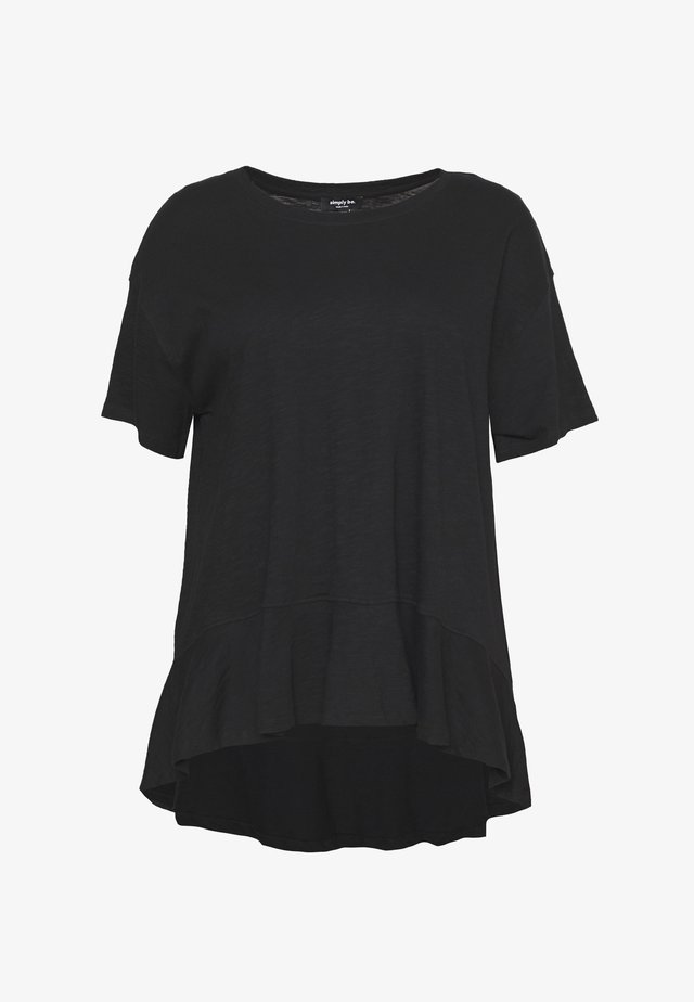 VALUE FRILL HEM - Jednoduché triko - black