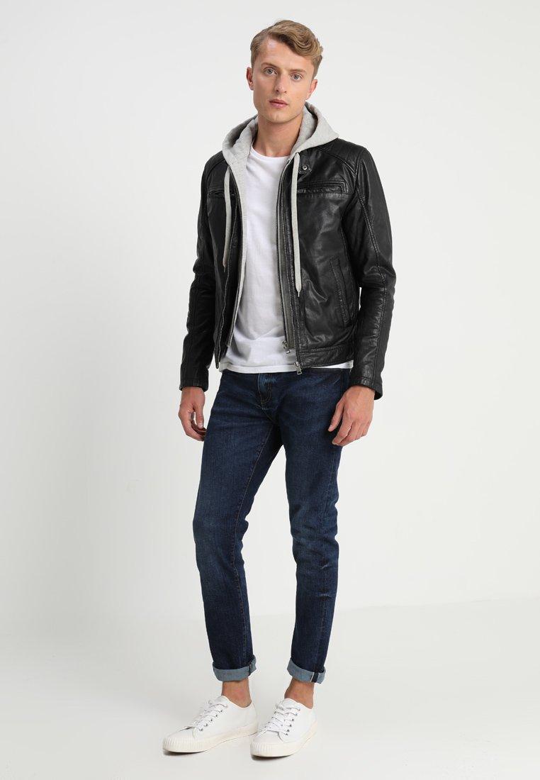 Serge Pariente SEAN - Veste en cuir - black/light grey hood