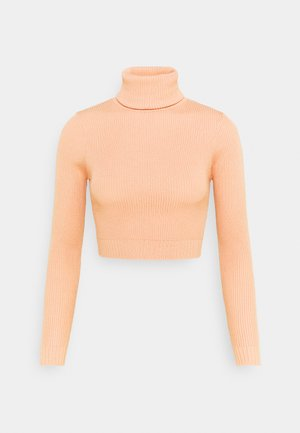 ROLL NECK CROP JUMPER - Pullover - sand