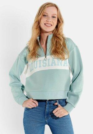 MIT STEHKRAGEN UND PRINT - Sweatshirt - blau