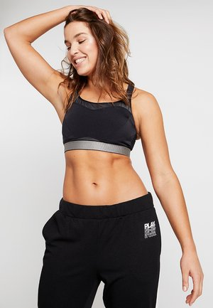 RUN ON BRA - High support sports bra - black/liquid metal