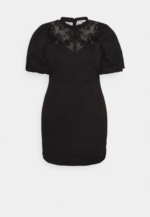 MINI DRESS WITH PUFF SHORT SLEEVES AND HIGH-NECK - Denní šaty - black