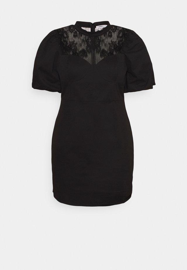 MINI DRESS WITH PUFF SHORT SLEEVES AND HIGH-NECK - Hverdagskjoler - black