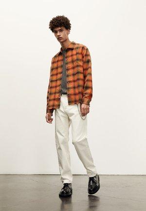 Shirt - dark kaki / orange