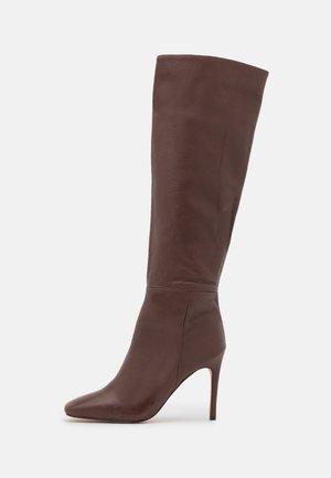 OLURIA - High heeled boots - dark brown
