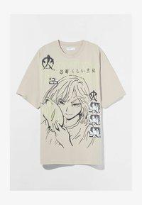Bershka - Print T-shirt - beige - 4