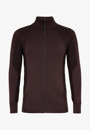 PLATED 3D BIKER ZIP THROUGH - Cardigan - dk fig/dk black