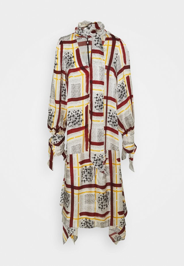 NECK DRESS WITH TIE CUFFS - Vapaa-ajan mekko - burgandy / check
