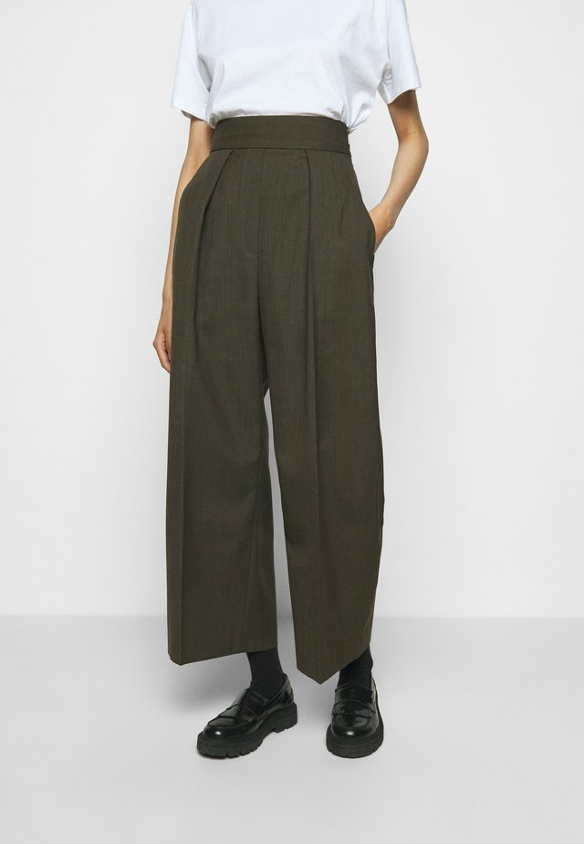 HIGH WAISTED ONE PLEAT - Pantalon classique - olive melange