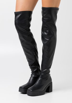 ZAZA PLATFORM BOOT - Cuissardes - black smooth