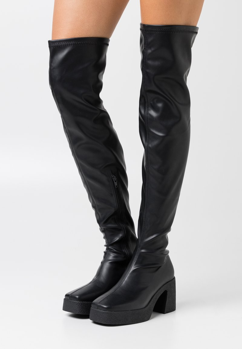 Rubi Shoes by Cotton On - ZAZA PLATFORM BOOT - Ylipolvensaappaat - black smooth