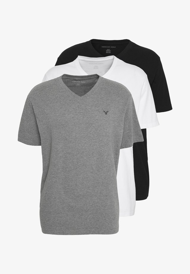 V NECK TEE 3 PACK - Basic T-shirt - grey/white/black
