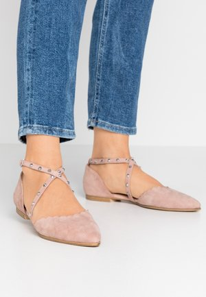Ankle strap ballet pumps - light rose