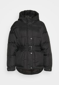 Missguided Petite - SELF BELTED PUFFER - Winter jacket - black - 0