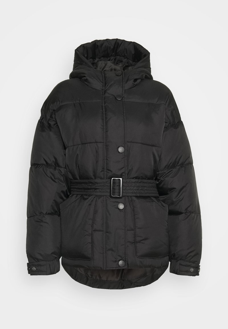 Missguided Petite - SELF BELTED PUFFER - Winter jacket - black