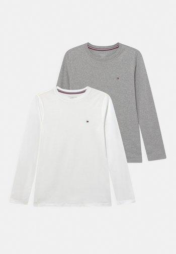 TEE 2 PACK - Long sleeved top - white/medium grey