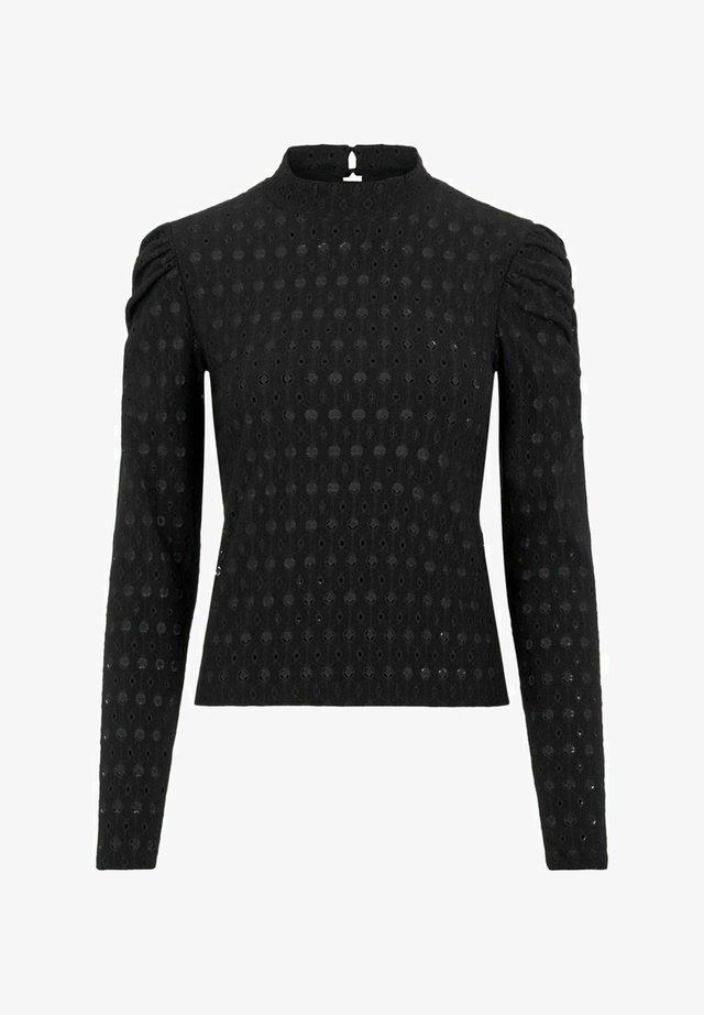 MIT LANGEN ÄRMELN LOCHSTICKEREI - T-shirt à manches longues - black