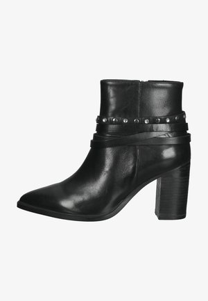 Enkellaarsjes met hoge hak - black leather