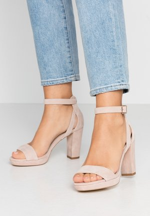 LEATHER HEELED SANDALS - Sandalias de tacón - nude