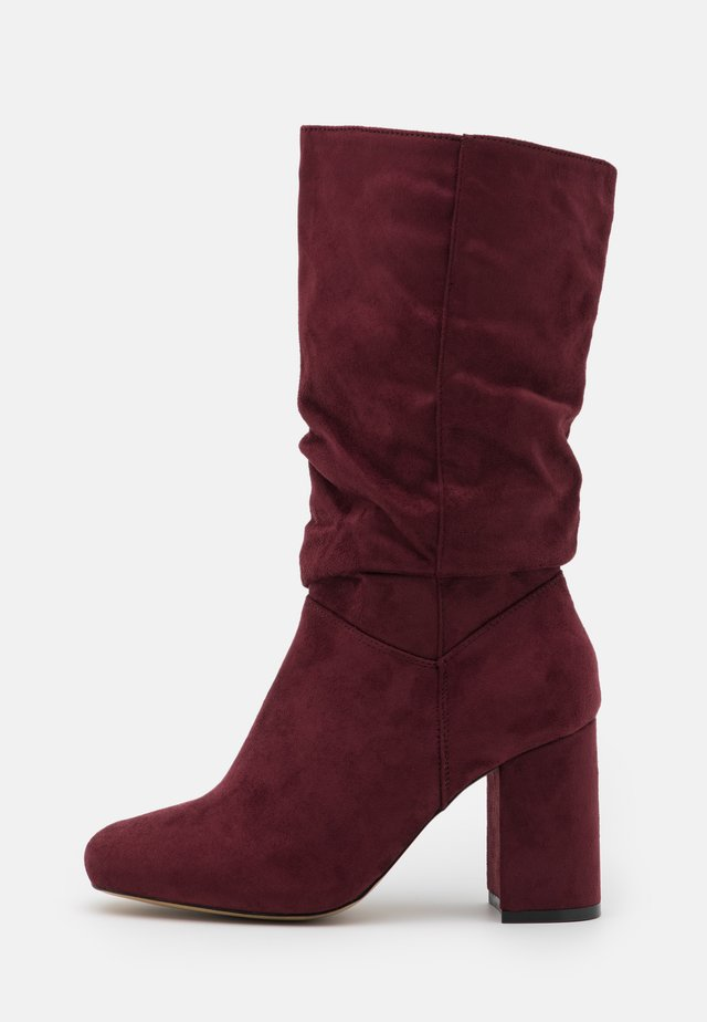 WIDE FIT BLOCK BOOT - Stivali alti - burgundy