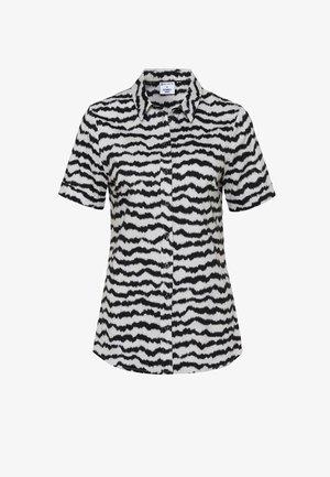 Button-down blouse - creme zebra print