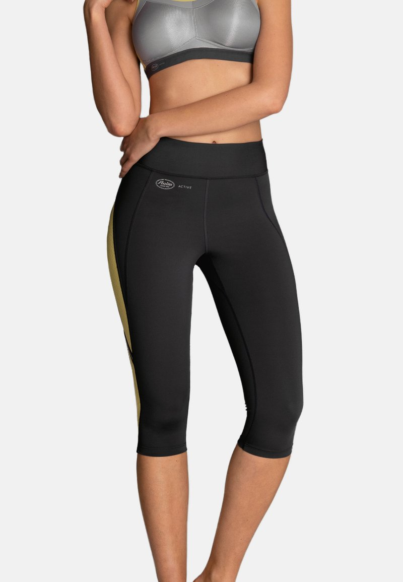 Anita - CAPRI  FITNESS - 3/4 sports trousers - gelb / anthrazit