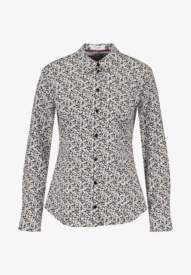 Button-down blouse - black/beige/white