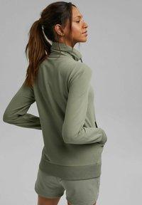 Esprit - MIT HOHEM KRAGEN - Zip-up sweatshirt - light khaki - 2