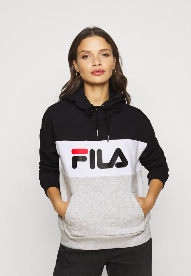 LORI HOODIE  - Felpa con cappuccio - black/light grey melange/bright white
