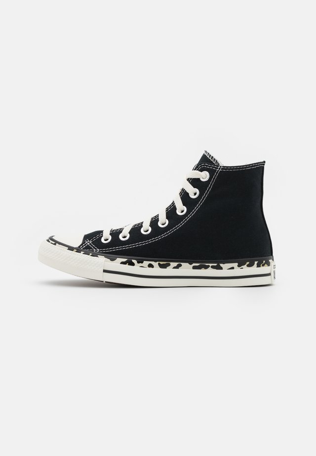 CHUCK TAYLOR ALL STAR EDGED ARCHIVE LEOPARD PRINT - High-top trainers - black/egret/driftwood