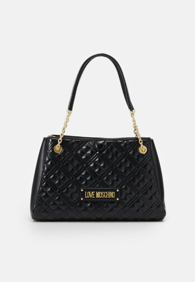 NEW SHINY QUILTED - Bolso shopping - black