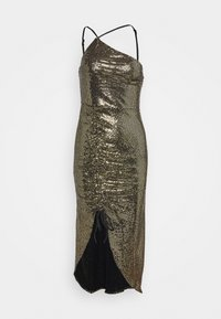 Missguided - GOLD SEQUIN RUCHED DETAIL MIDI DRESS - Cocktail dress / Party dress - bronze - 0