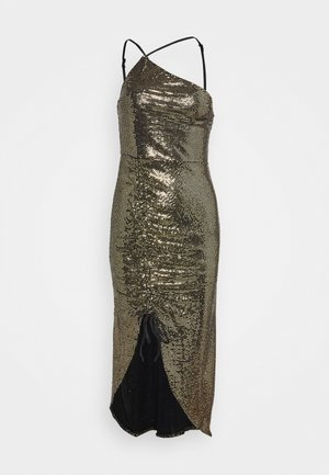 GOLD SEQUIN RUCHED DETAIL MIDI DRESS - Sukienka koktajlowa - bronze