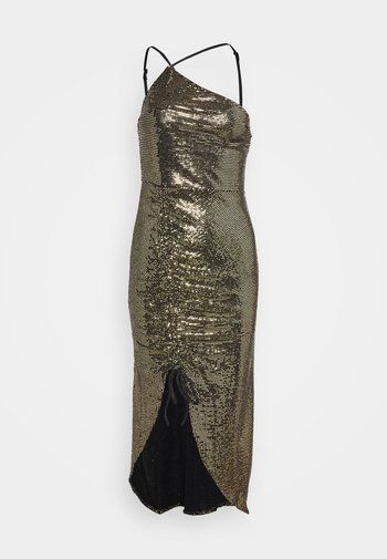 GOLD SEQUIN RUCHED DETAIL MIDI DRESS - Cocktail dress / Party dress - bronze