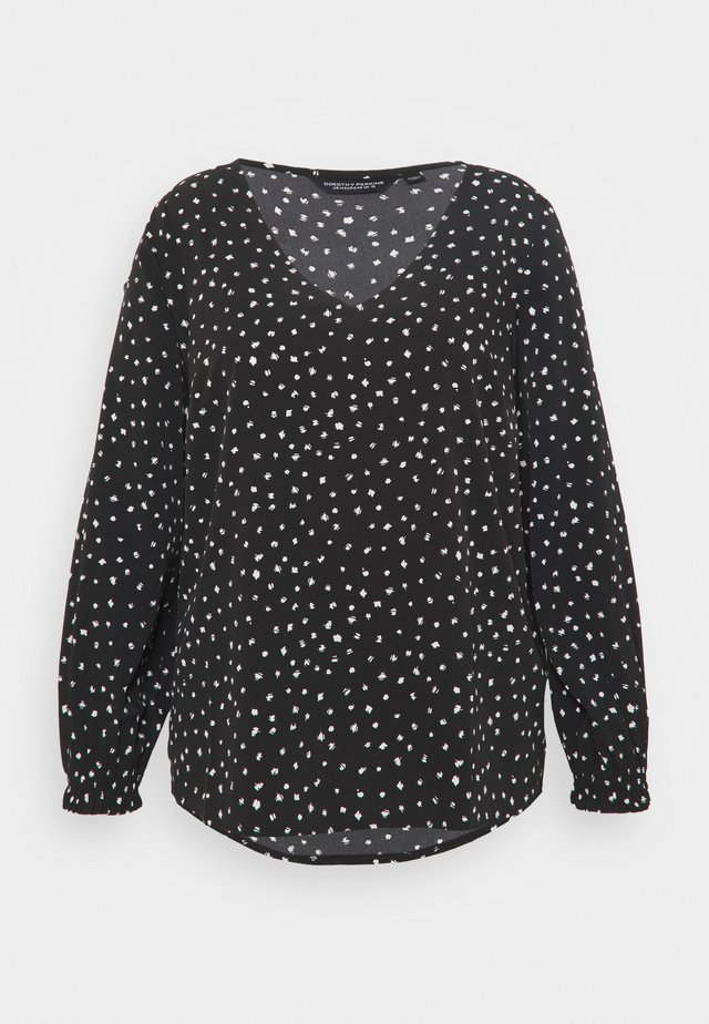 CURVE SHIRRED CUFF SPOT - Long sleeved top - black