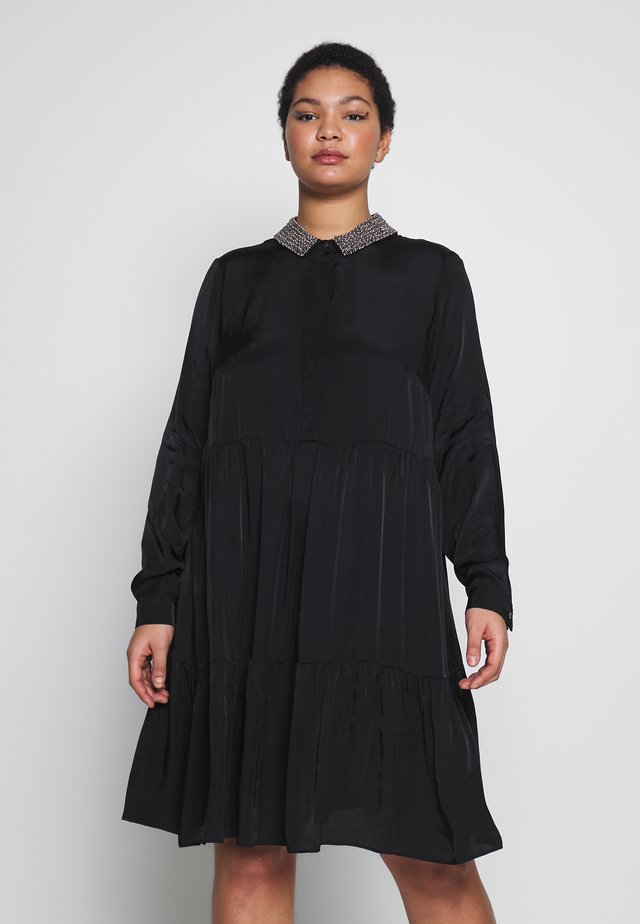 TIERED TUNIC TRIM COLLAR DRESS - Paitamekko - black