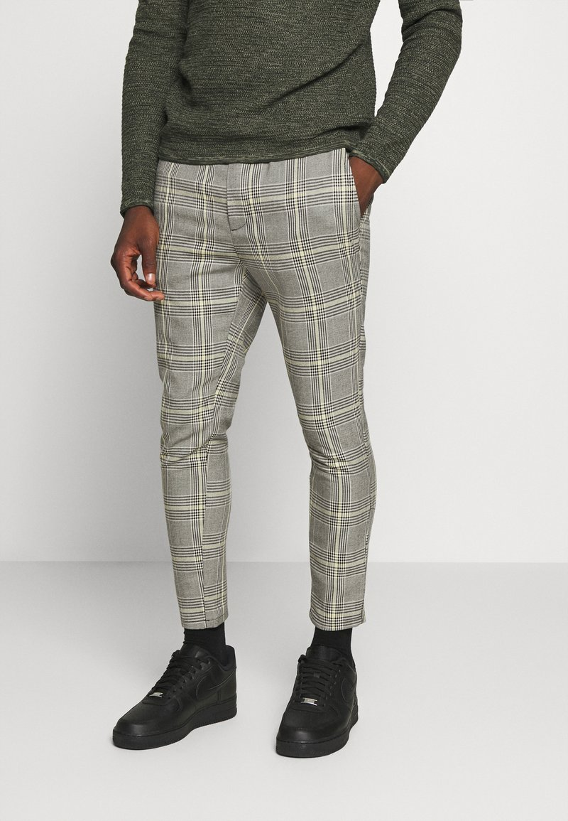 Only & Sons - ONSLINUS CROPPED CHECK PANT - Kalhoty - black